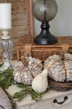 Learn how to create a rustic display with this unique birch bark pumpkins.  |  www.andersonandgrant.com