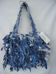 Shabby Chic Denim Rag Fabric Strip Purse Cool Sexy Fun Funky Crochet | customized4Y - Bags & Purses on ArtFire