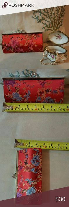 Vintage Silk Flower Print Evening Clutch Beautiful print floral design on red silk fabric.Gold tone kiss lock clasp. Bags Clutches & Wristlets