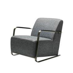 休闲椅 板材框架+不锈钢扶手+布艺软包 S-018B W750*D855*H695 mm