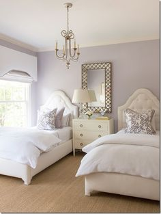 Ashley Goforth Design Lavender room elegant twin bedroom ♡ teaspoonheaven.com
