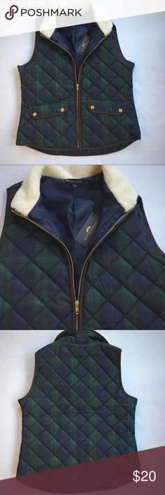 NWT British Khaki Vest L British Khaki Vest  Blue and green plaid Large  NWT British Khaki Jackets & Coats Vests