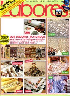 Labores del Hogar atrasado. | Aprender manualidades es facilisimo.com Cross Stitch Magazines, Free Magazines, Crochet Books, Quilts, Embroidery, Sewing, Handmade, Crafts, Bags