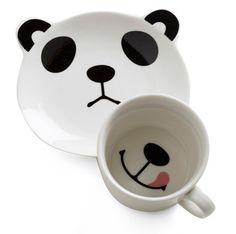 Panda Smile on Your Face Mug Set from ModCloth #Kids #Panda #Dinnerware #ModCloth