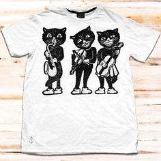 T-Shirt Black Cats Weiß jetzt auf Fab.