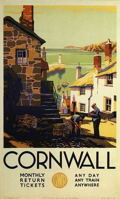 vintage travel posters travel posters of ireland. Cornwall vintage travel poster This beautiful travel poster reminds me a lot of th. Old Poster, Poster Ads, Advertising Poster, Poster Prints, Art Print, Posters Uk, Railway Posters, Vintage Travel Posters, Vintage Advertisements