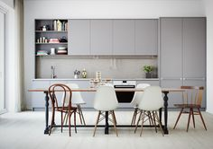 41 Awesome Scandinavian Dining Room Design With Swedish Style - Home Design Modern Kitchen Cabinets, Kitchen Interior, New Kitchen, Kitchen Dining, Kitchen Decor, Grey Cabinets, Kitchen Craft, Design Kitchen, Wall Cabinets
