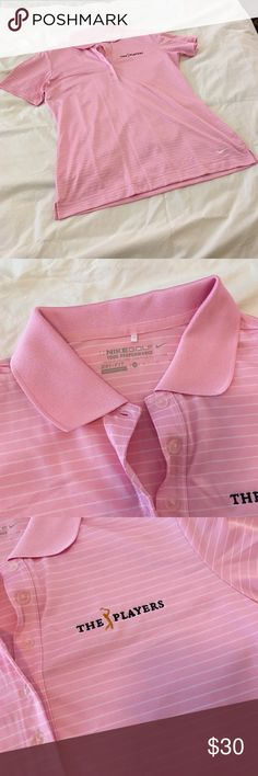 Pink Nike Women's Golf Shirt. Size Medium. Pink and white striped Nike Women's TPC gold shirt. Limited edition. Worn Twice. Nike Tops