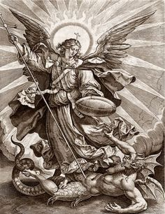 The Archangels oversee and guide Guardian Angels who are with us on earth. The most widely known Archangel Gabriel, Michael, Raphael, and Uriel. Archangel Michael Tattoo, St Michael Tattoo, Catholic Art, Religious Art, Angel Warrior Tattoo, Rennaissance Art, Angel Tattoo Designs, Occult Art, Biblical Art