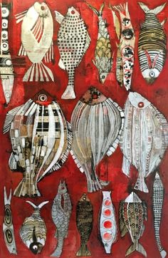 Cécile Colombo, Red Fish, Peinture Beach Quilt, Art Carte, Fish Tales, Fish Drawings, Cecile, Red Fish, Watercolor Design, Fish Art, Weird And Wonderful