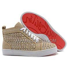 割引販売 CHRISTIAN LOUBOUTIN LOUIS 銀 SPIKES HIGH TOP SNEAKERS BEIGE, Only¥17,146 , Free Shipping! http://www.japanjordan.com/christian-louboutin-louis-silver-spikes-high-top-sneakers-beige.html