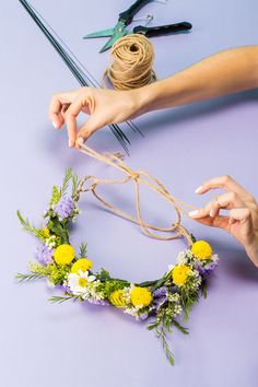 This Is The Easiest DIY Flower Crown Ever #refinery29  http://www.refinery29.uk/how-to-make-a-flower-crown#slide-14  Step 14: String It ThroughThread the plain twine or ribbon through the two loops and tie into a bow. This will allow you to fit the crown on your head and adjust as needed. ...