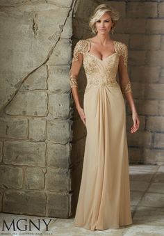 Evening #Gowns / #Dresses #Style 71204: #Chiffon with #Beaded #Lace #Appliques http://www.morilee.com/socialocassion/vmcollection/71204
