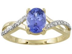 Tanzanite 1.00ct Oval With Diamond Accent 14k Yellow Gold Ring Erv $440.00