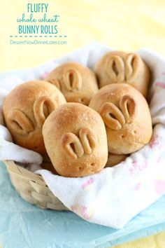 Fluffy Whole Wheat Bunny Rolls - Get the recipe and step-by-step photos on how to make these simple bunny rolls for your Easter dinner. | DessertNowDinnerLater.com #rolls #wholewheat #Easter #bunny
