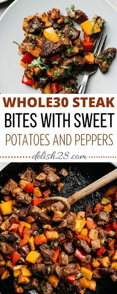 WHOLE30 STEAK BITES WITH SWEET POTATOES AND PEPPERS Sweet Potato Dinner, Sweet Potato Kale, Sweet Potato Noodles, Mashed Sweet Potatoes, Sweet Potato Recipes, Whole 30 Recipes, Real Food Recipes, Healthy Recipes, Healthy Meals