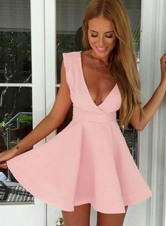 Pink Deep V Neck Sleeveless Flare Dress