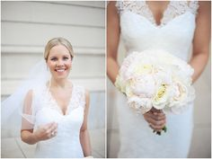 Chic and elegant bridal bouquet designed with white roses and blush peonies. Captured by Erica Rose Photography. Bouquet by Phillip's Flowers.