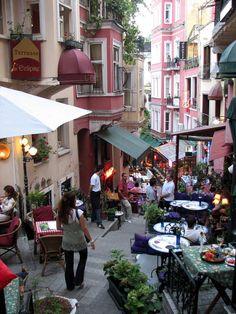 "French Street, Istanbul. ""Rue Franaise"", with tented buildings, street musicians, cafés, bars and art centers... #Turkey"