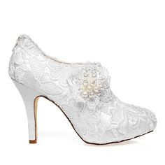 Luxury Bridal Ankle Boots 2016 Stiletto High Heels White Lace ...