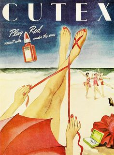 Cutex ad for Play Red nail polish, 1946. #vintage #1940s #beauty #ads