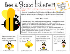 """Address the skills of listening and following directions with these fun games that target following 2-3 step directions (either written or oral) and some critical thinking!     Can be played as a card game or board game that both use the 40 included """"Simon Says"""" style cards."""
