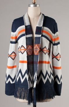 Tribal Fray Cardigan $48 - obsessed.