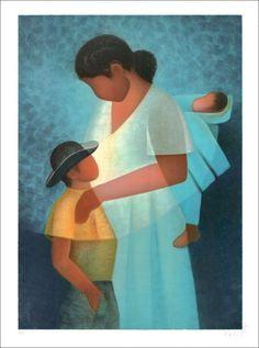 """TOFFOLI Louis - Lithographie Originale """"La famille (Femme et enfants)"""" 76x56cm - 1991"""