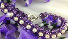 Purple Amethyst Cream Pearl beaded bracelet Silver Toggle Clasp