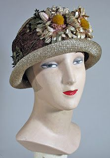1920s Brown and Grey Deep Crowned Cloche