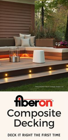 If you love this Fiberon patio, get a sample of our composite decking, lighting and hidden fastener material. Then, start designing your own custom terrace or patio space. Choose from 23 different board color, streaking and grain pattern options. Fiberon composite decking products are eco-friendly, low maintenance, and stand up against the elements better than wood. Visit us at fiberondecking.com