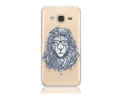 Samsung Galaxy J3 Express Amp Prime SM-J320A Clear TPU with Hipster Lion Design Soft and Flexible Silicone Skin Phone Case  | www.nucecases.com | #samsung #nucecases