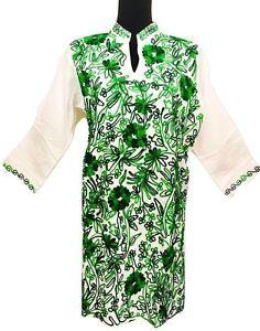 Cotton Embroidered Boho Kurti Kurta Tunic Summer Dress Mexican Top Sz XL White  | eBay