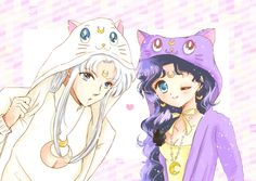 Artemis & Luna (humans) in cat hoodies (*NOTE* these hoodies are a real thing! Sailor Moon Luna, Sailor Chibi Moon, Sailor Moons, Sailor Jupiter, Sailor Moon Crystal, Sailor Pluto, Sailor Venus, Digimon, Luna Et Artemis
