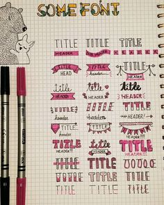 Comment your favorite header spread❣ Tag us your creations to be featured! Credit for this post goes to these… Bullet Journal Headers, Bullet Journal Banner, Journal Fonts, Bullet Journal Notebook, Bullet Journal Ideas Pages, Bullet Journal Inspiration, Bullet Journal Aesthetic, Lettering Tutorial, Planer