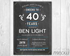 40th Birthday Invitation ANY AGE 60th 50th 70th 80th by wowwowmeow