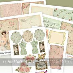 Printable Journal Kit - Cottage Roses - 5x7 Digital Paper Pack - Journal Inserts - Collage - Journaling - Scraps - Junk Journal Pink