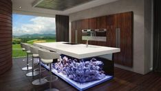 Aquarium sustainable kitchen design by Robert Kolenik. The design world has examples of incredible solutions. With regard to creativity today we propose an excellent sample that combines aquarium and design. It is a kitchen island . Home Design, Best Interior Design, Interior Decorating, Design Ideas, Bar Designs, Modern Interior, Aquarium Design, Aquarium Ideas, Aquarium In Wall