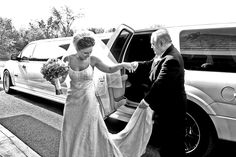 Beautiful flowing lines on this photo as dad helps the bride out of the limo...  www.lovecameraaction.com    Saratoga Springs wedding photographer