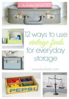 12 ways to use vintage finds for everyday storage - lots of great ideas for all those cute things you find at thrift stores and estate sales- great unique organization Cool Diy Projects, Home Projects, Vintage Storage, Organizing Your Home, Organising, Diy Storage, Storage Ideas, Organization Hacks, Getting Organized