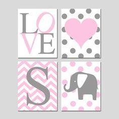 Baby Girl Nursery Wall Art Pink and Gray - Set of Four Prints - Chevron… Nursery Wall Art, Girl Nursery, Girl Room, Pink And Gray Nursery, Pink Grey, Gris Rose, Elephant Nursery, Art Mural, New Baby Girls