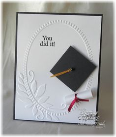 Personalize an elegant graduation card for the graduate with embossing folder cardstock with elegant wreath and embroidery floss. Add the rolled paper diploma for more decorations to add up its charm. Graduation Cards Handmade, Graduation Diy, Greeting Cards Handmade, Embossed Cards, Congratulations Card, Card Tags, Creative Cards, Cute Cards, Scrapbook Cards