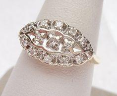 14kt 25 pt Diamond Princess Ring 1950s