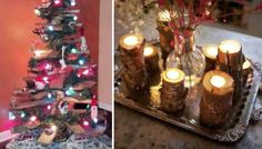 Reader Tips: DIY Christmas Decor.  Christmas tree trunk candle holders upcycle!