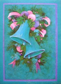 merry & bright in glittery pink   ♥ .. X ღɱɧღ  || Vintage  Christmas Card