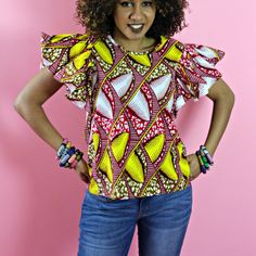 african print buttefly blouse