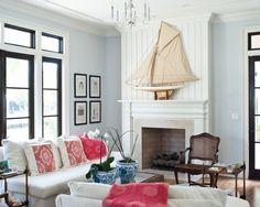 Living Room Bead Board Mixed Wood Colors Design