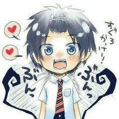 Okumura Rin, hearts, cute, chibi, text, blushing; Blue Exorcist