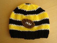 Baby Football Beanie   Steelers Football by FiberFlowersAndBeads, $18.00