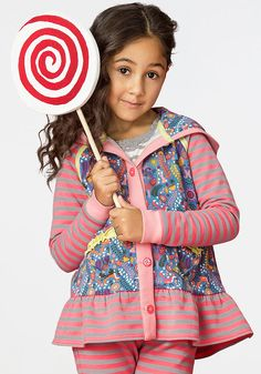 Cuddle Me Hoodie - Matilda Jane Clothing- The Cuddle Me Hoodie is comfort in her closet. This cozy hoodie features ruffles, stripes, and a bright print. #matildajaneclothing #kidsclothes #momlife